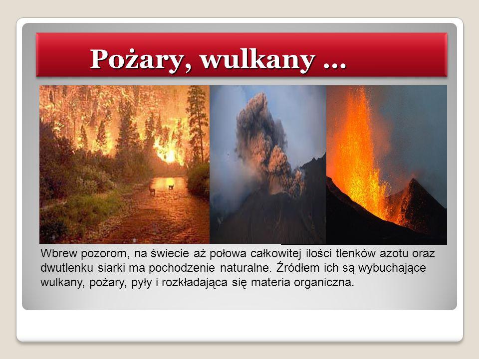 Pożary, wulkany … Pożary, wulkany … Wbrew pozorom, na świecie aż połowa całkowitej ilości tlenków azotu oraz dwutlenku siarki ma pochodzenie naturalne