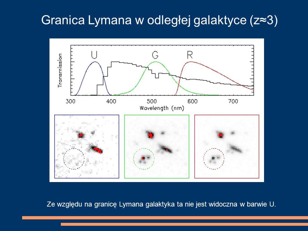 Granica Lymana w odległej galaktyce (z≈3) Ze względu na granicę Lymana galaktyka ta nie jest widoczna w barwie U.