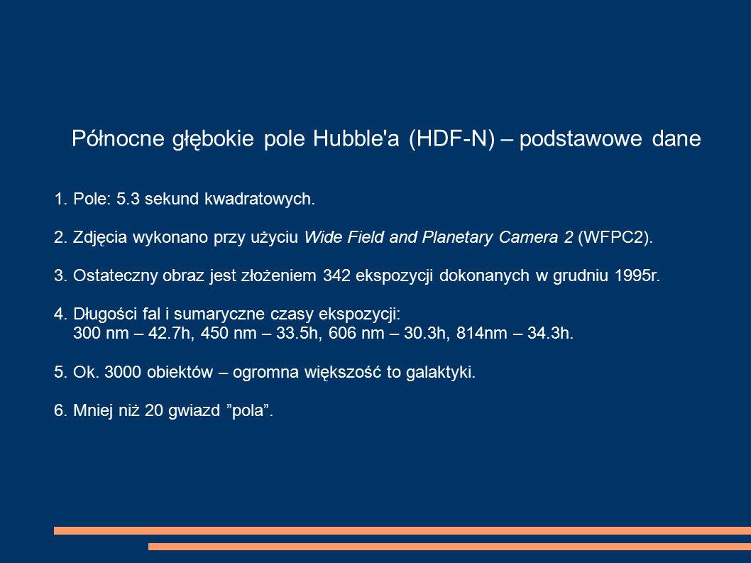 Północne głębokie pole Hubble'a (HDF-N) – podstawowe dane 1. Pole: 5.3 sekund kwadratowych. 2. Zdjęcia wykonano przy użyciu Wide Field and Planetary C
