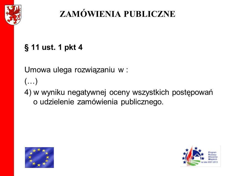 ZAMÓWIENIA PUBLICZNE § 11 ust. 1 pkt 4 Umowa ulega rozwiązaniu w : (…) 4) w wyniku negatywnej oceny wszystkich postępowań o udzielenie zamówienia publ