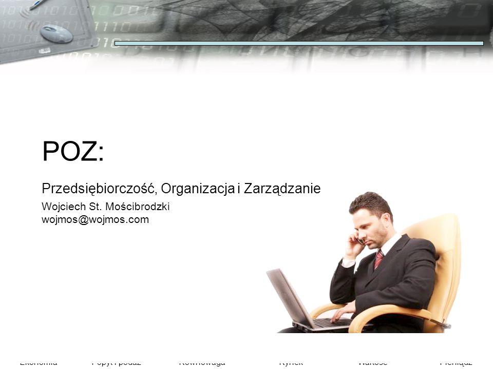EkonomiaPopyt i podażRównowagaRynekWartośćPieniądz POZ: Przedsiębiorczość, Organizacja i Zarządzanie Wojciech St. Mościbrodzki wojmos@wojmos.com
