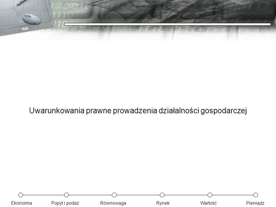 EkonomiaPopyt i podażRównowagaRynekWartośćPieniądz Uwarunkowania prawne prowadzenia działalności gospodarczej