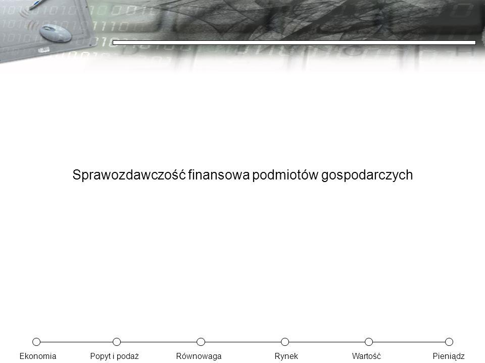 EkonomiaPopyt i podażRównowagaRynekWartośćPieniądz Sprawozdawczość finansowa podmiotów gospodarczych