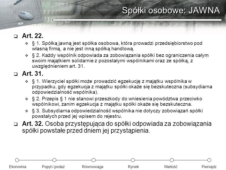EkonomiaPopyt i podażRównowagaRynekWartośćPieniądz Spółki osobowe: JAWNA  Art. 22.  § 1. Spółką jawną jest spółka osobowa, która prowadzi przedsiębi