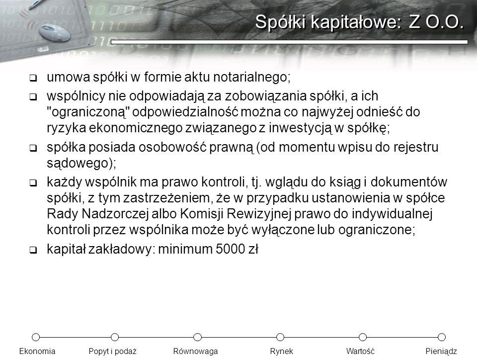 EkonomiaPopyt i podażRównowagaRynekWartośćPieniądz Spółki kapitałowe: Z O.O.  umowa spółki w formie aktu notarialnego;  wspólnicy nie odpowiadają za