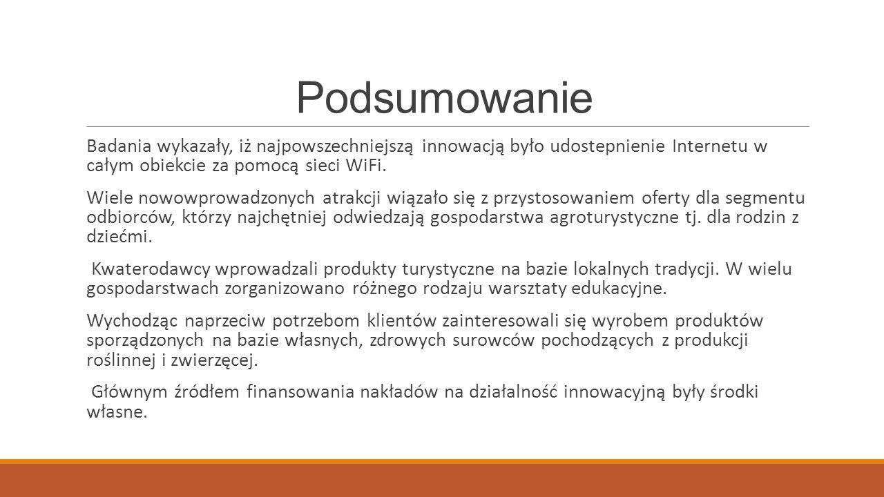 Podsumowanie Badania wykazały, iż najpowszechniejszą innowacją było udostepnienie Internetu w całym obiekcie za pomocą sieci WiFi. Wiele nowowprowadzo