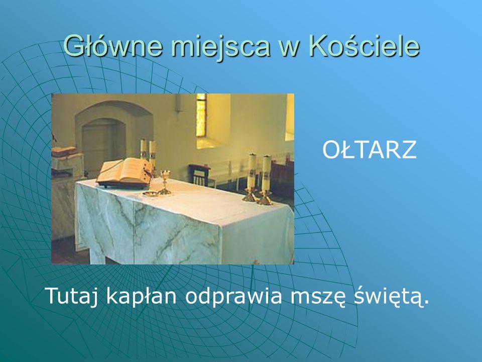 Główne miejsca w Kościele TABERNAKULUM W tym miejscu przechowuje się Pana Jezusa.