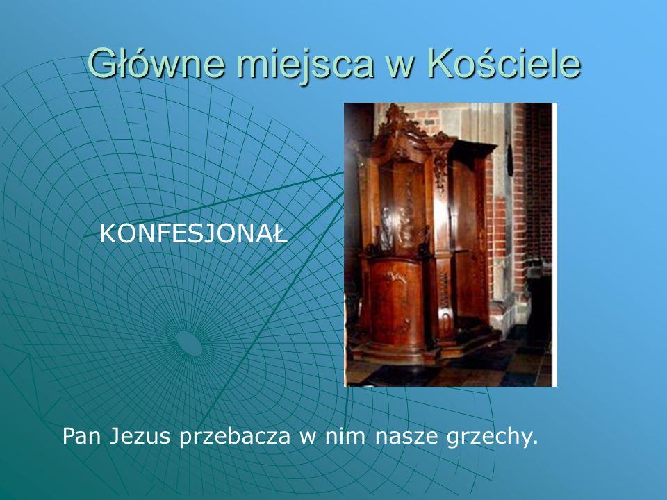 Główne miejsca w Kościele KONFESJONAŁ Pan Jezus przebacza w nim nasze grzechy.
