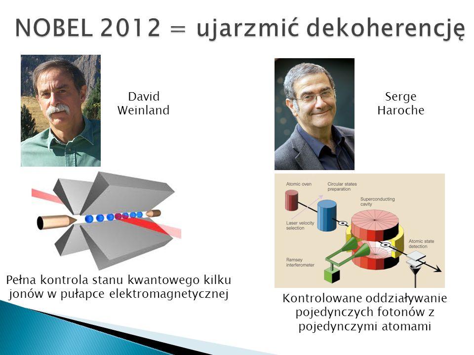 Serge Haroche David Weinland Pełna kontrola stanu kwantowego kilku jonów w pułapce elektromagnetycznej Kontrolowane oddziaływanie pojedynczych fotonów