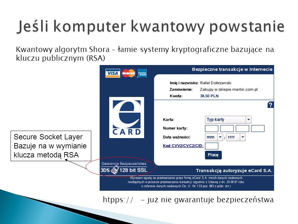 Kwantowy algorytm Shora – łamie systemy kryptograficzne bazujące na kluczu publicznym (RSA) Secure Socket Layer Bazuje na w wymianie klucza metodą RSA