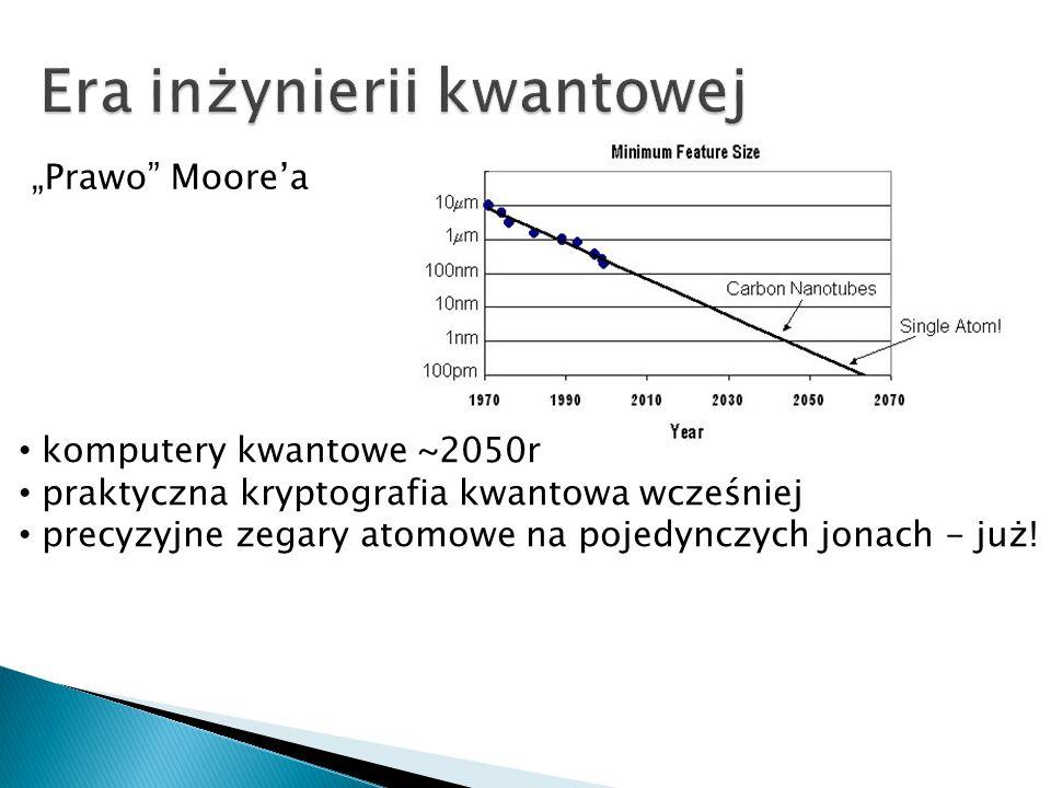 """""""Prawo"""" Moore'a komputery kwantowe ~2050r praktyczna kryptografia kwantowa wcześniej precyzyjne zegary atomowe na pojedynczych jonach - już!"""