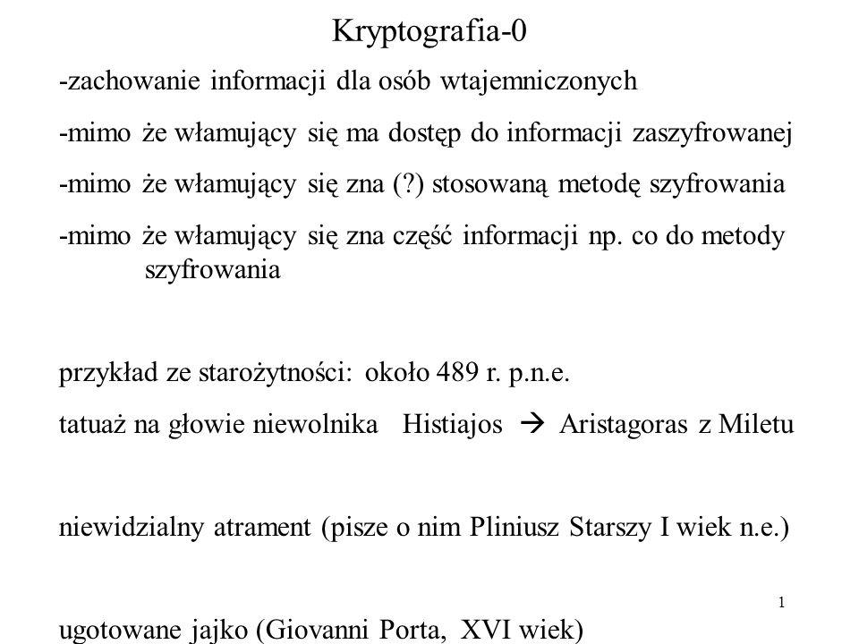 1 Kryptografia-0 -zachowanie informacji dla osób wtajemniczonych -mimo że włamujący się ma dostęp do informacji zaszyfrowanej -mimo że włamujący się zna ( ) stosowaną metodę szyfrowania -mimo że włamujący się zna część informacji np.
