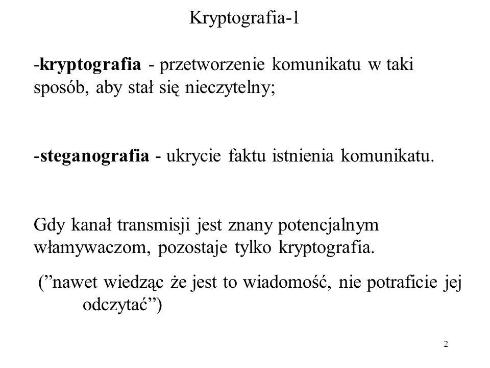 2 Kryptografia-1 -kryptografia - przetworzenie komunikatu w taki sposób, aby stał się nieczytelny; -steganografia - ukrycie faktu istnienia komunikatu.