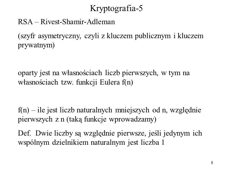 8 Kryptografia-5 RSA – Rivest-Shamir-Adleman (szyfr asymetryczny, czyli z kluczem publicznym i kluczem prywatnym) oparty jest na własnościach liczb pierwszych, w tym na własnościach tzw.