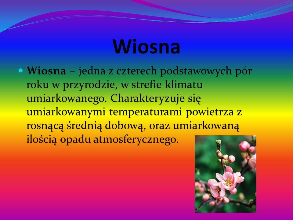 Wiosna Wiosna − jedna z czterech podstawowych pór roku w przyrodzie, w strefie klimatu umiarkowanego.
