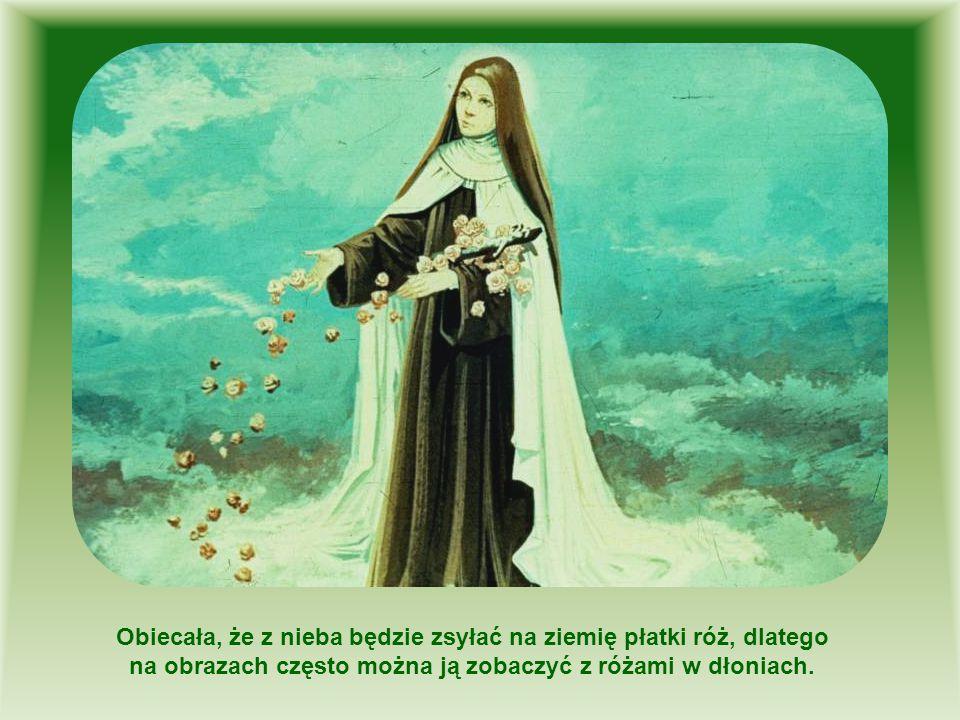 Obiecała, że z nieba będzie zsyłać na ziemię płatki róż, dlatego na obrazach często można ją zobaczyć z różami w dłoniach.