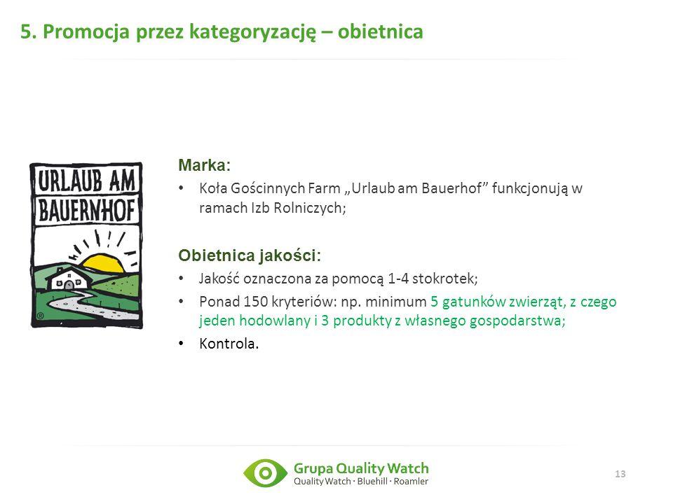 """13 5. Promocja przez kategoryzację – obietnica Marka: Koła Gościnnych Farm """"Urlaub am Bauerhof"""" funkcjonują w ramach Izb Rolniczych; Obietnica jakości"""