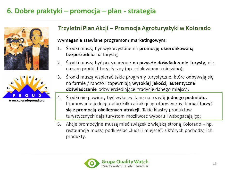 15 6. Dobre praktyki – promocja – plan - strategia Trzyletni Plan Akcji – Promocja Agroturystyki w Kolorado Wymagania stawiane programom marketingowym