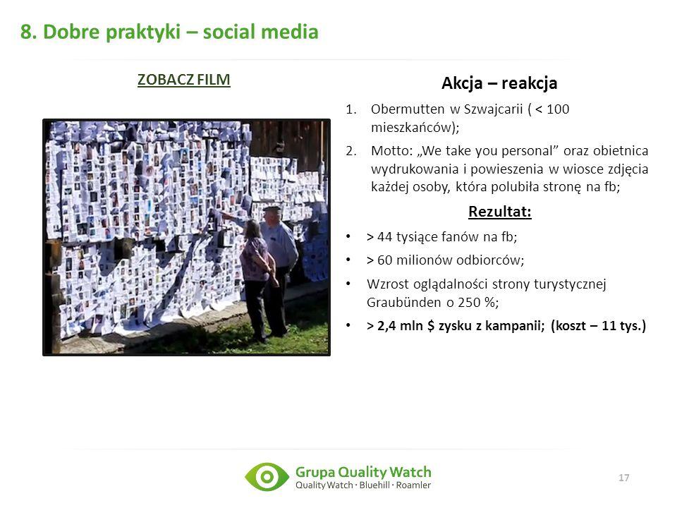 """17 8. Dobre praktyki – social media Akcja – reakcja 1.Obermutten w Szwajcarii ( < 100 mieszkańców); 2.Motto: """"We take you personal"""" oraz obietnica wyd"""