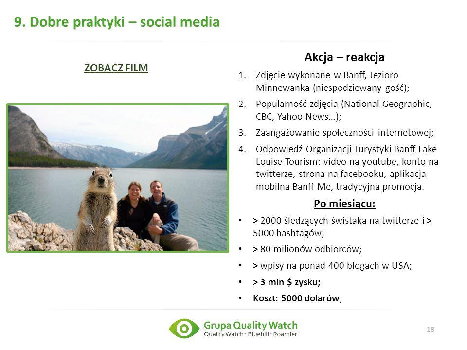18 9. Dobre praktyki – social media Akcja – reakcja 1.Zdjęcie wykonane w Banff, Jezioro Minnewanka (niespodziewany gość); 2.Popularność zdjęcia (Natio
