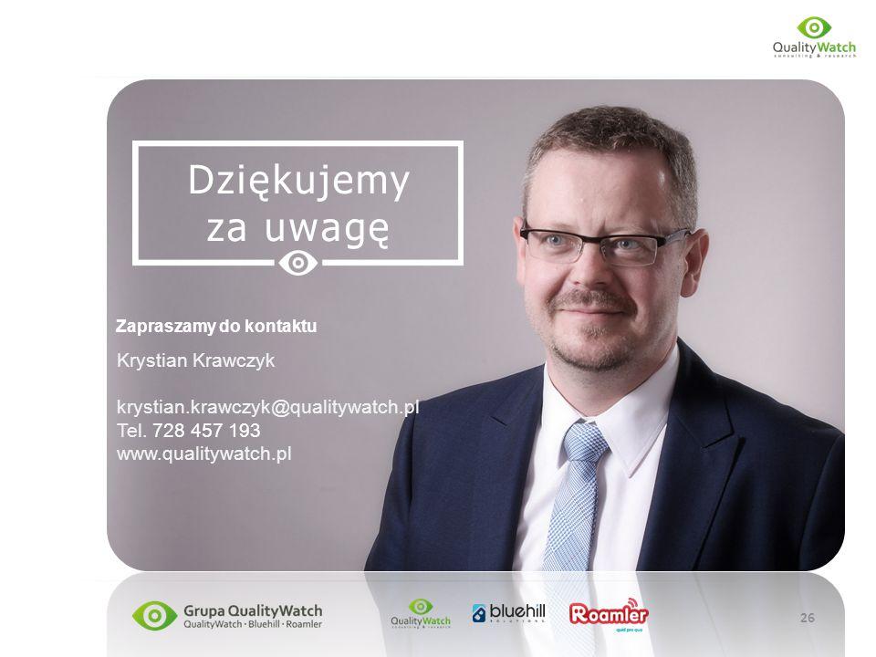 26 Dziękujemy za uwagę Zapraszamy do kontaktu Krystian Krawczyk krystian.krawczyk@qualitywatch.pl Tel. 728 457 193 www.qualitywatch.pl