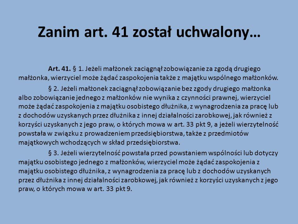 Kontraktowe prawo małżeńskie majątkowe Art.47. § 1.