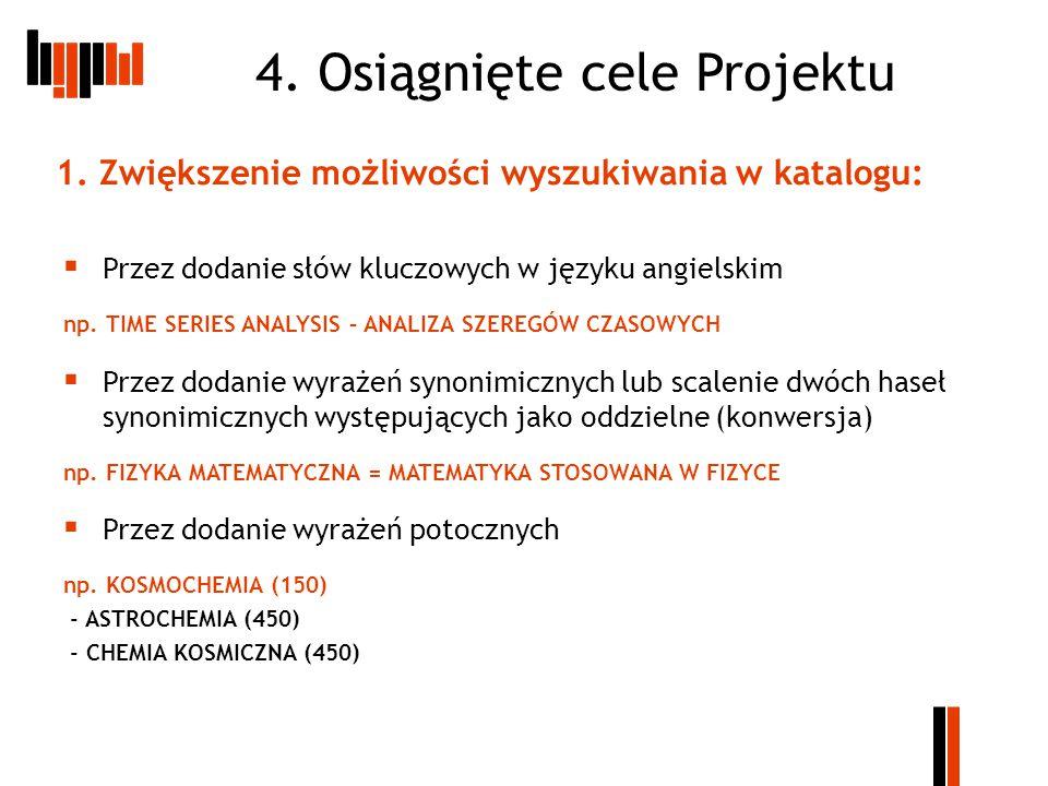 4. Osiągnięte cele Projektu  Przez dodanie słów kluczowych w języku angielskim np.
