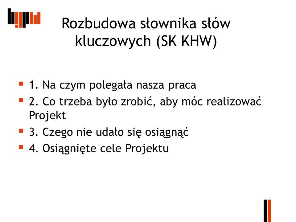 Rozbudowa słownika słów kluczowych (SK KHW)  1. Na czym polegała nasza praca  2.