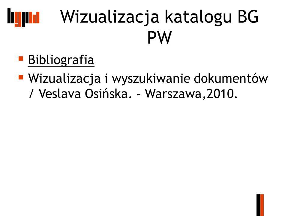 Wizualizacja katalogu BG PW  Bibliografia  Wizualizacja i wyszukiwanie dokumentów / Veslava Osińska.