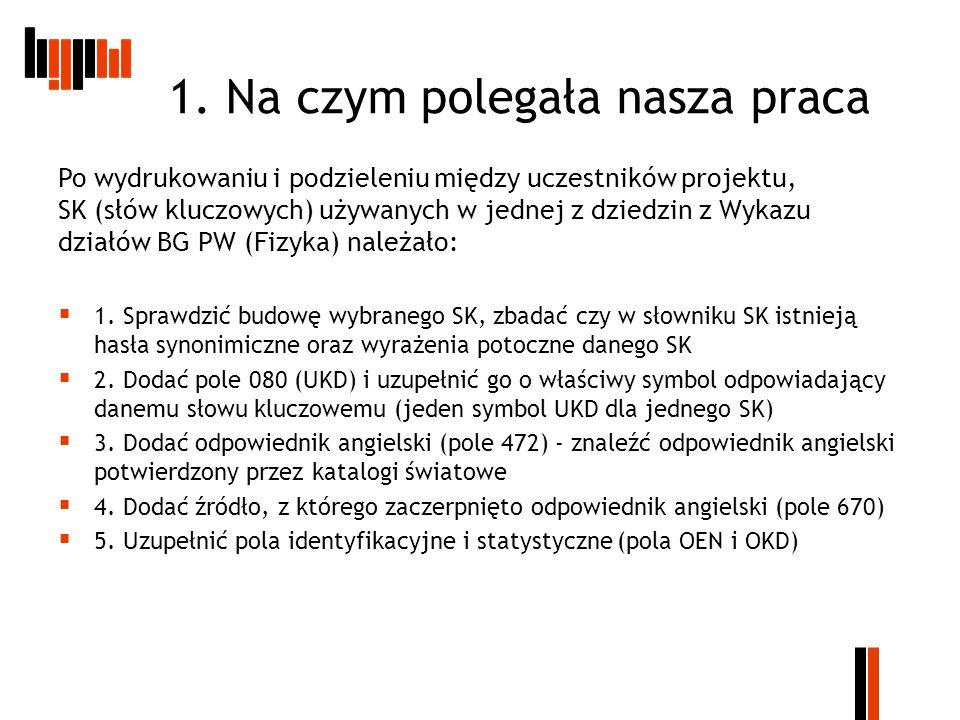 Wizualizacja katalogu BG PW  Symbole UKD posłużą nam do wyróżnienia wszystkich dziedzin z jakich pochodzą dokumenty, natomiast Słowa kluczowe i Układ Działowy pokażą pokrewne dziedziny jakie skupione są w jednym, szerszym symbolu cyfrowym UKD.
