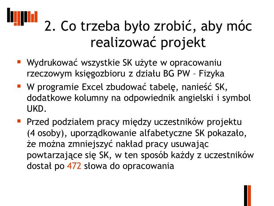 2. Co trzeba było zrobić, aby móc realizować projekt  Wydrukować wszystkie SK użyte w opracowaniu rzeczowym księgozbioru z działu BG PW – Fizyka  W