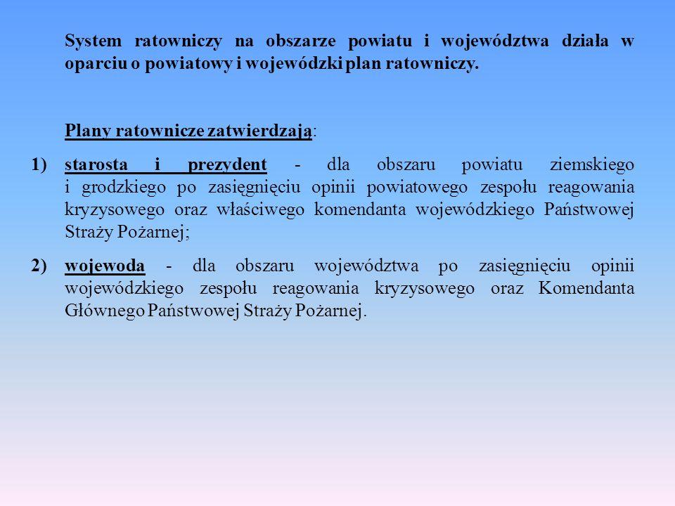 System ratowniczy na obszarze powiatu i województwa działa w oparciu o powiatowy i wojewódzki plan ratowniczy. Plany ratownicze zatwierdzają: 1)staros