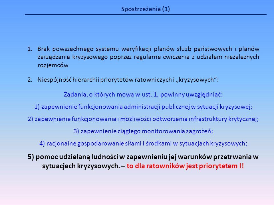 Spostrzeżenia (1) 1. Brak powszechnego systemu weryfikacji planów służb państwowych i planów zarządzania kryzysowego poprzez regularne ćwiczenia z udz