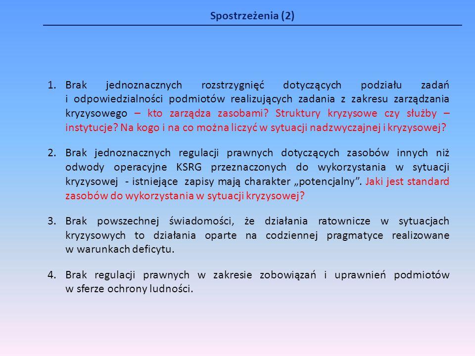 Spostrzeżenia (2) 1.Brak jednoznacznych rozstrzygnięć dotyczących podziału zadań i odpowiedzialności podmiotów realizujących zadania z zakresu zarządz
