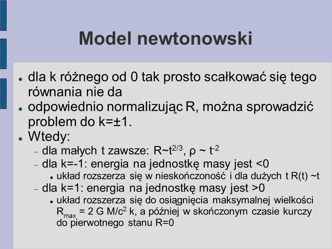 Model newtonowski dla k różnego od 0 tak prosto scałkować się tego równania nie da odpowiednio normalizując R, można sprowadzić problem do k=±1. Wtedy