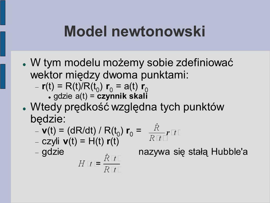 Model newtonowski W tym modelu możemy sobie zdefiniować wektor między dwoma punktami:  r(t) = R(t)/R(t 0 ) r 0 = a(t) r 0 gdzie a(t) = czynnik skali