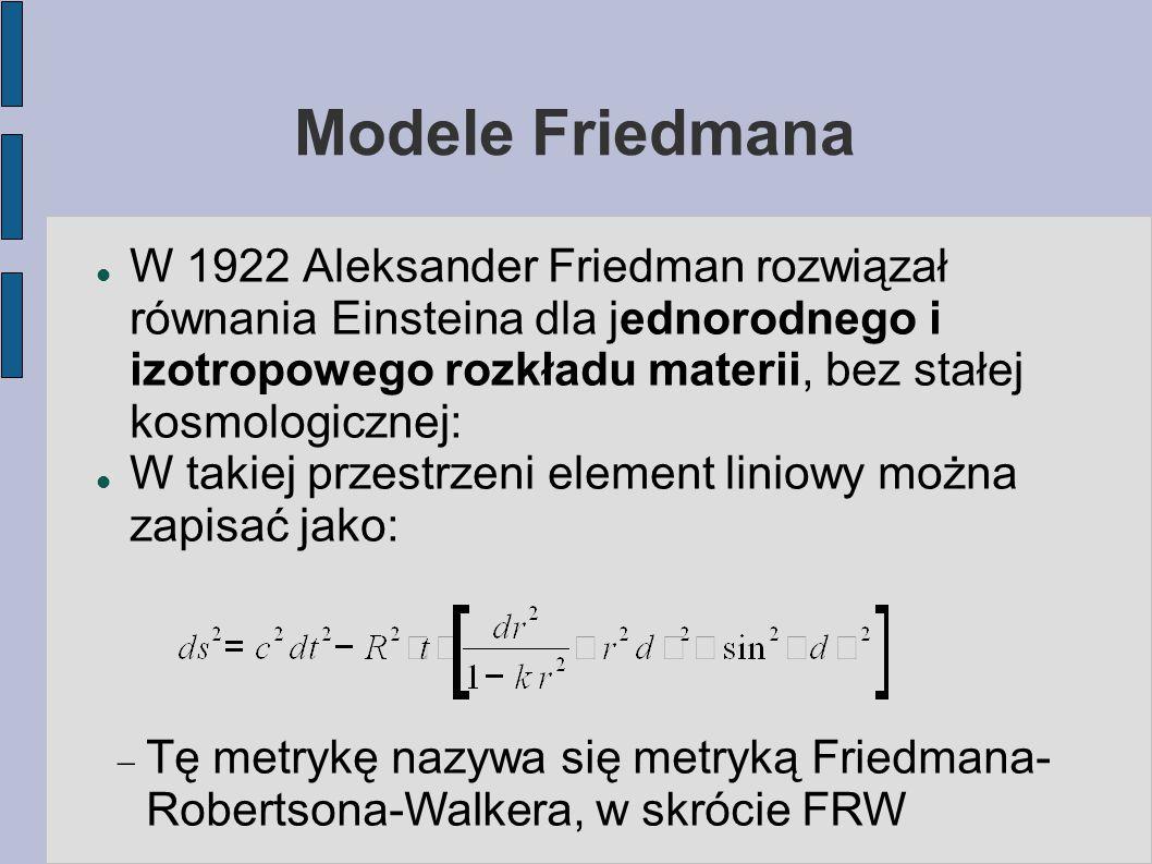 Modele Friedmana W 1922 Aleksander Friedman rozwiązał równania Einsteina dla jednorodnego i izotropowego rozkładu materii, bez stałej kosmologicznej: