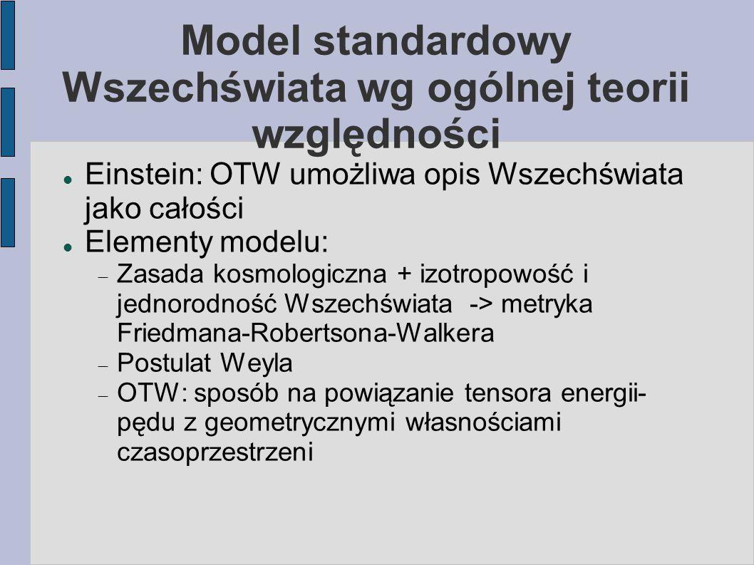 Model standardowy Wszechświata wg ogólnej teorii względności Einstein: OTW umożliwa opis Wszechświata jako całości Elementy modelu:  Zasada kosmologi