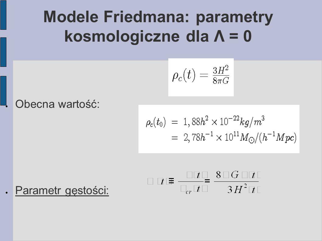 Modele Friedmana: parametry kosmologiczne dla Λ = 0  Obecna wartość:  Parametr gęstości: