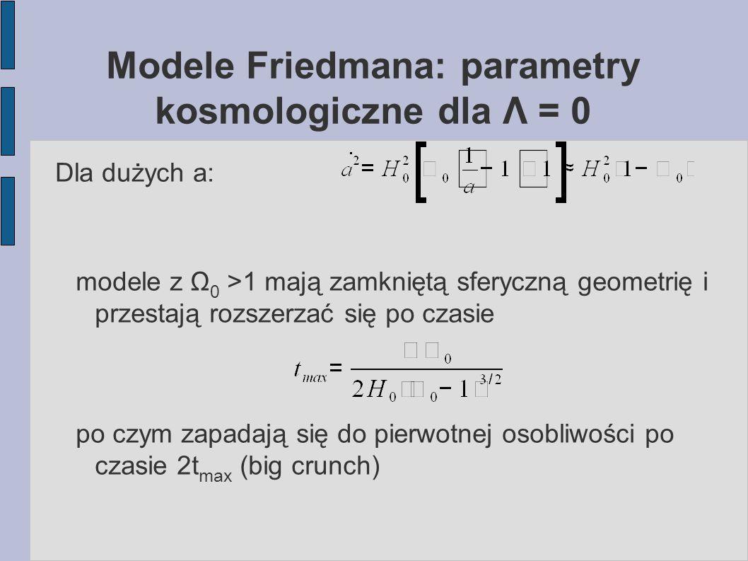 Modele Friedmana: parametry kosmologiczne dla Λ = 0 Dla dużych a: modele z Ω 0 >1 mają zamkniętą sferyczną geometrię i przestają rozszerzać się po cza