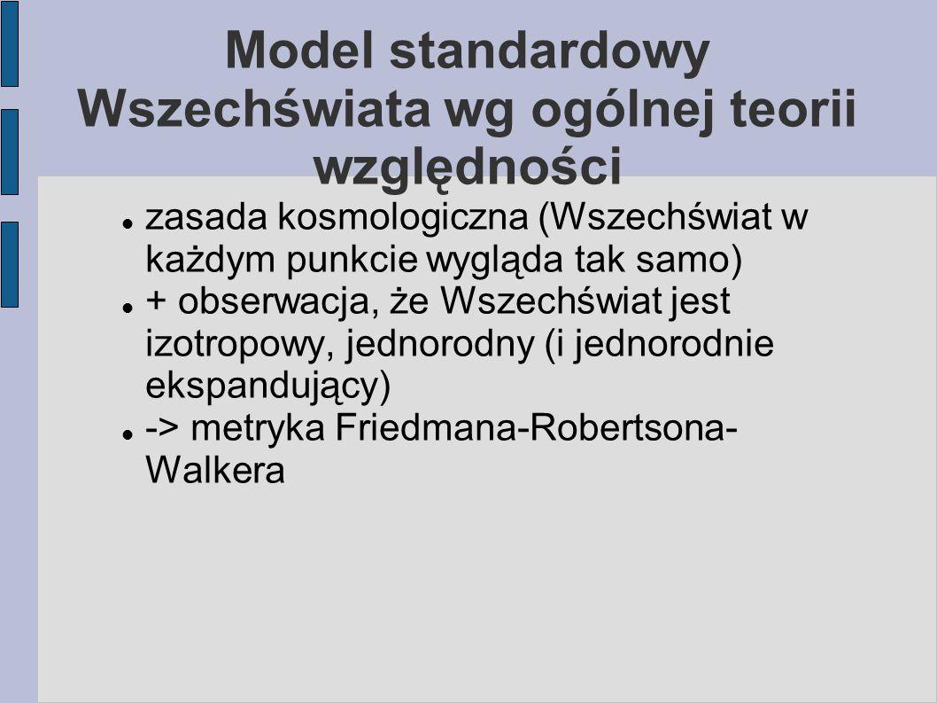 Model standardowy Wszechświata wg ogólnej teorii względności zasada kosmologiczna (Wszechświat w każdym punkcie wygląda tak samo) + obserwacja, że Wsz