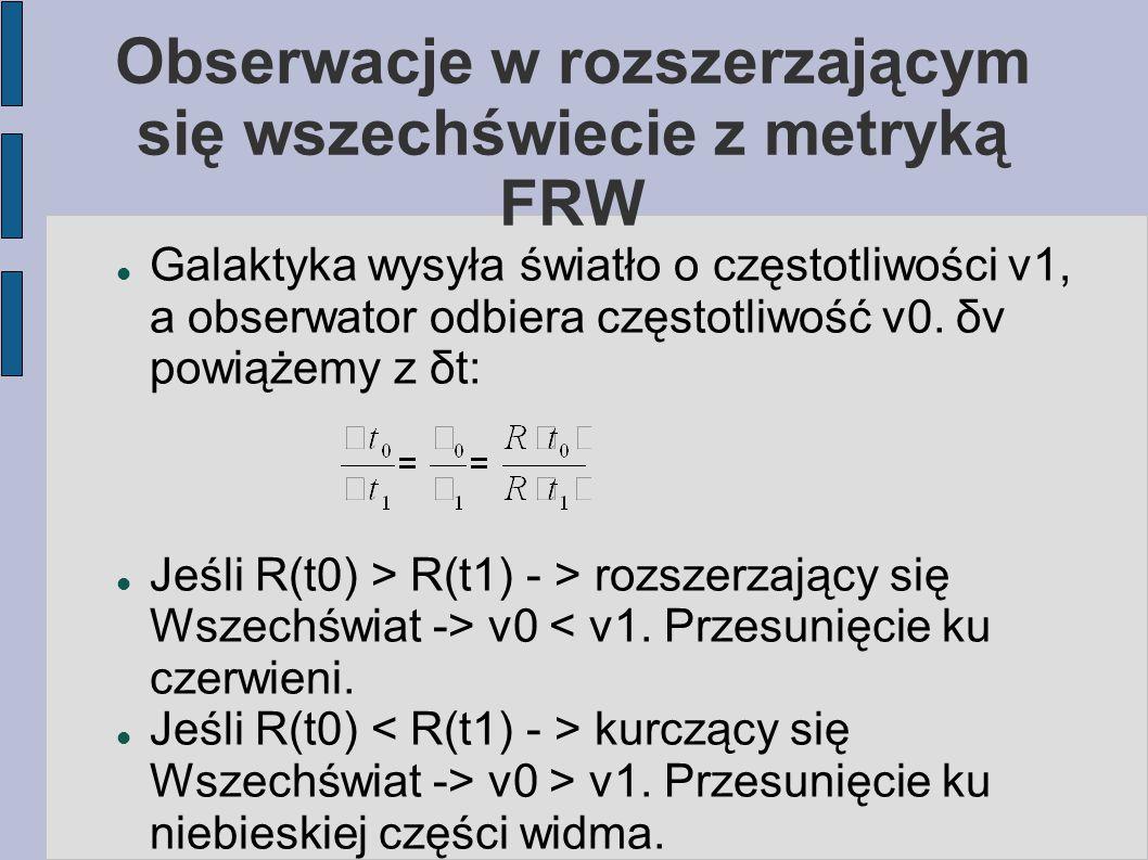 Obserwacje w rozszerzającym się wszechświecie z metryką FRW Galaktyka wysyła światło o częstotliwości ν1, a obserwator odbiera częstotliwość ν0. δν po