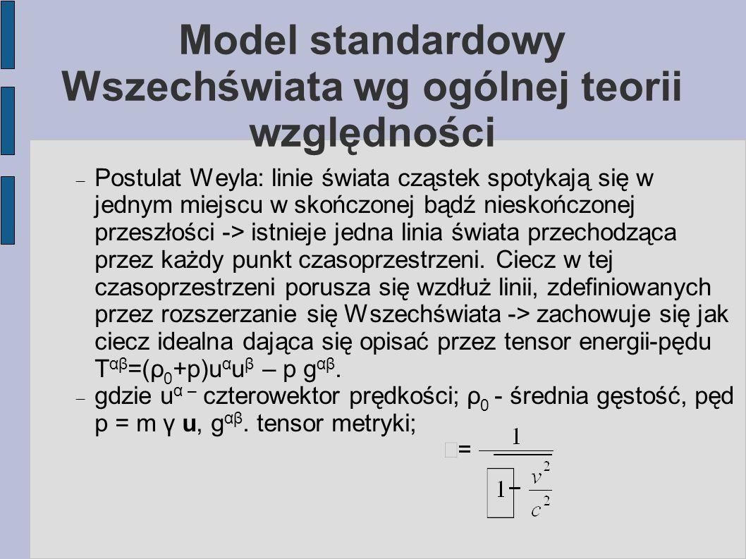 Model standardowy Wszechświata wg ogólnej teorii względności  Postulat Weyla: linie świata cząstek spotykają się w jednym miejscu w skończonej bądź n