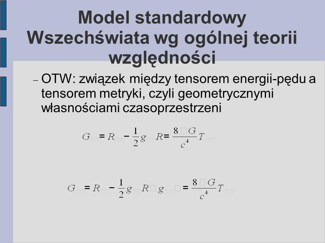 Model standardowy Wszechświata wg ogólnej teorii względności  OTW: związek między tensorem energii-pędu a tensorem metryki, czyli geometrycznymi włas