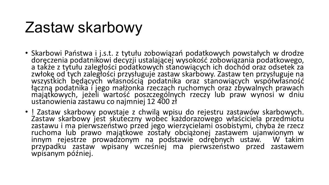 Zastaw skarbowy Skarbowi Państwa i j.s.t.