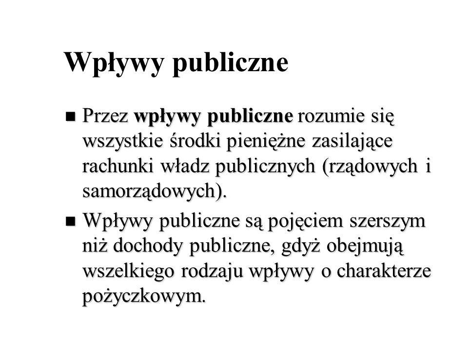 Wpływy publiczne Przez wpływy publiczne rozumie się wszystkie środki pieniężne zasilające rachunki władz publicznych (rządowych i samorządowych). Prze