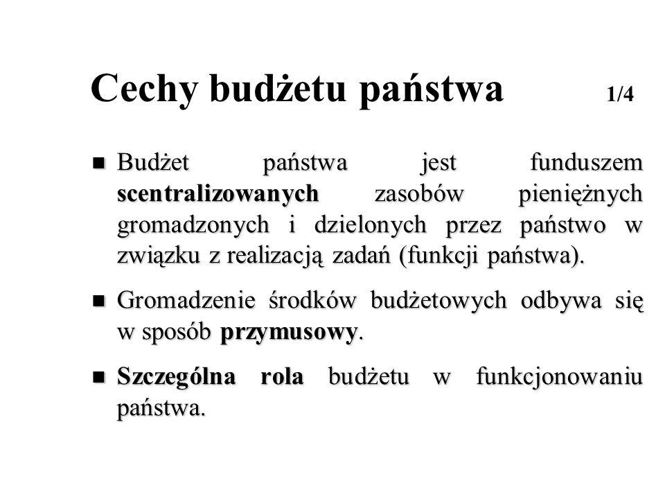 Cechy budżetu państwa 2/4 Procesy gromadzenia i dzielenia dochodów za pomocą budżetu implikują zasady ustrojowo - konstytucyjne.