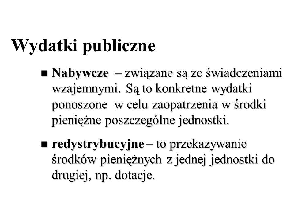 Wydatki publiczne Nabywcze – związane są ze świadczeniami wzajemnymi. Są to konkretne wydatki ponoszone w celu zaopatrzenia w środki pieniężne poszcze