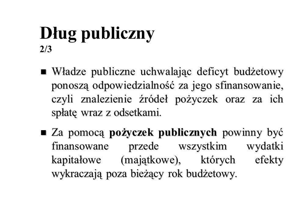 Dług publiczny 2/3 Władze publiczne uchwalając deficyt budżetowy ponoszą odpowiedzialność za jego sfinansowanie, czyli znalezienie źródeł pożyczek ora