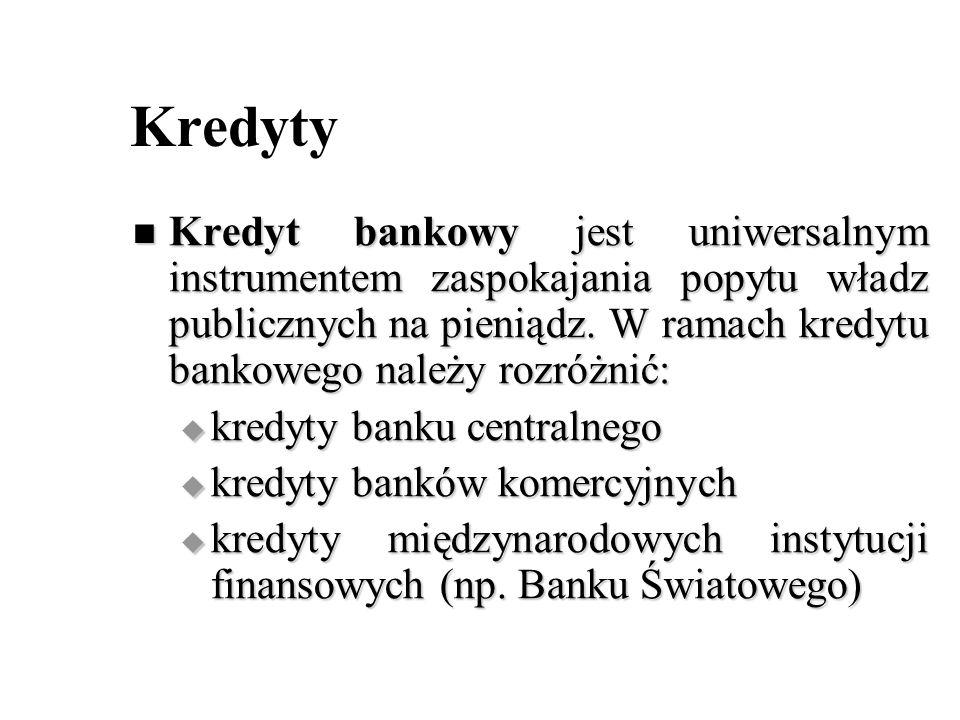 Kredyty Kredyt bankowy jest uniwersalnym instrumentem zaspokajania popytu władz publicznych na pieniądz. W ramach kredytu bankowego należy rozróżnić:
